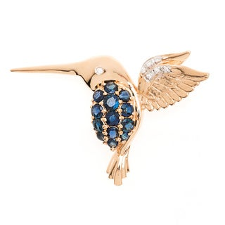 14k Yellow Gold Sapphire/ Ruby and 0.03ct TWD Diamond Hummingbird Brooch Pin (I-J, I1-I2)