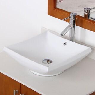 Elite High Temperature Grade A Ceramic Bathroom Sink with Unique Square Design and Chrome Finish Faucet Combo