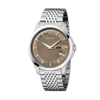 Gucci Men's 'G-Timeless' Slim Case Brown Dial Watch
