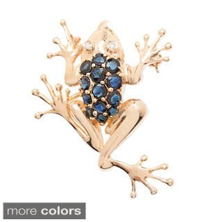 Kabella Luxe 14k Yellow Gold Sapphire/ Ruby 0.03ct TDW Diamond Climbing Frog Brooch (I-J, I1-I2)