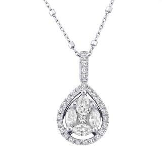 Beverly Hills Charm 14k White Gold 1ct TDW Pear Shape Diamonds Halo Necklace (H-I, SI2-I1)