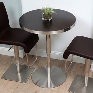 Koco Round Wood Veneer and Brushed Metal Pub Table