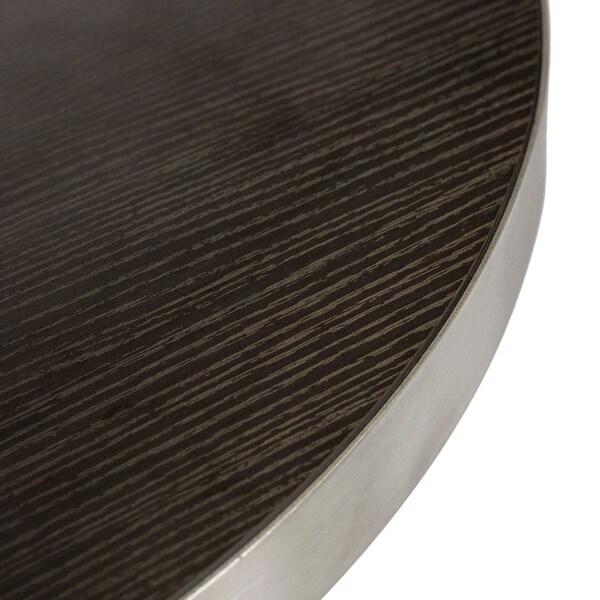 Koco Round Wood Veneer Brushed Stainless Steel Pub Table
