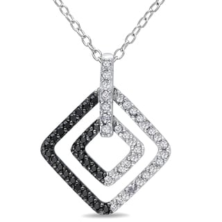 Miadora Sterling Silver 1/2ct TDW Black and White Diamond Geometric Necklace (H-I, I2-I3)