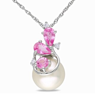 Miadora 10k White Gold Pearl, Pink Sapphire and Diamond Necklace (H-I, I2-I3) (8.5-9 mm)