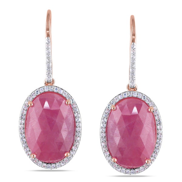 Miadora Roseplated Silver Red and White Sapphire Charm Earrings
