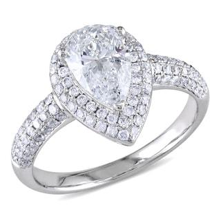 14k White Gold 1 1/2ct TDW Pear Cut Diamond Ring (G-H, SI1-SI2)