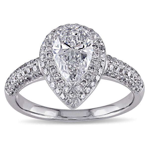 Miadora 14k White Gold 1 1/2ct TDW Pear Cut Diamond Ring (G-H, SI1-SI2)