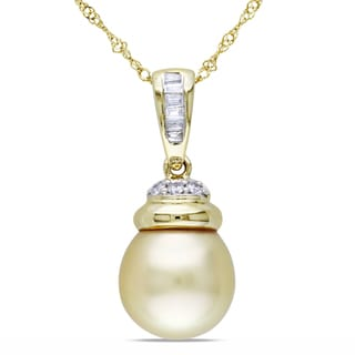Miadora 14k Yellow Gold South Sea Pearl and 1/10ct TDW Diamond Necklace (G-H, I1-I2) (9.5-10 mm)