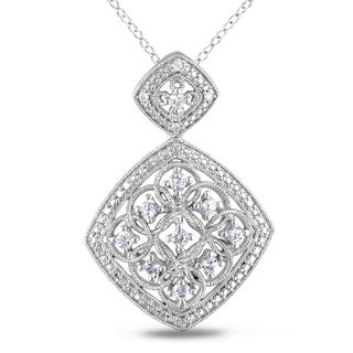 Miadora Sterling Silver Created White Sapphire and Diamond Necklace (H-I, I2-I3)