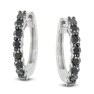 Miadora 10k White Gold 1ct TDW Black Diamond Hoop Earrings