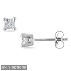 Miadora 14k Gold 1/3ct TDW Princess-cut Diamond Stud Earrings (H-I, I1-I2)