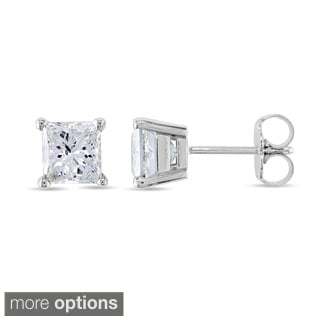 Miadora 14k Gold 2ct TDW Princess-cut Diamond Stud Earrings (J-K, I2-I3)
