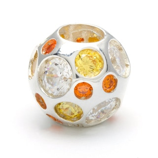 Sterling Silver Orange, Yellow and Clear Crystal Bead
