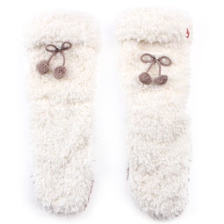 Women's Winter White Fluffy Socks with Cell Phone Pocket
