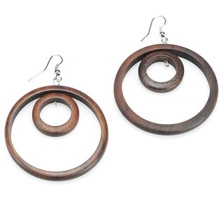 Eco-friendly Wooden Double Ring Dangle Earrings (India)