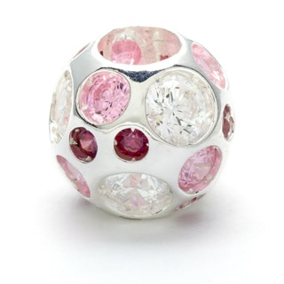 Sterling Silver Clear, Pink and Fuchsia Crystal Bead