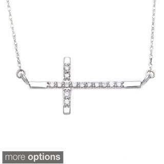 10k Gold 1/10ct TDW Diamond Sideways Cross Necklace (H-I, I2-I3)