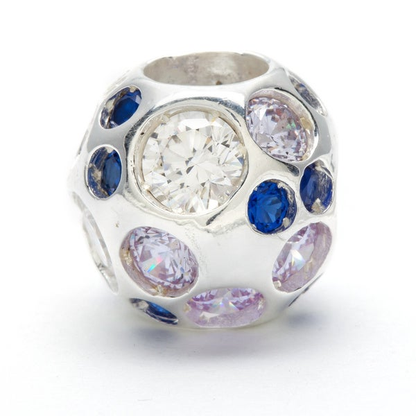 Sterling Silver Blue and Clear Crystal Bead