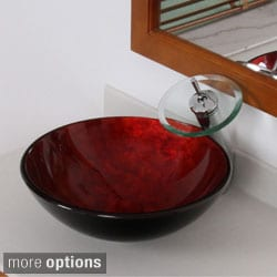Elite Modern Design Tempered Glass Bathroom Vessel Sink and Waterfall Faucet Combo