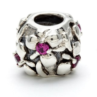Sterling Silver Pink Crystal Flowers Bead