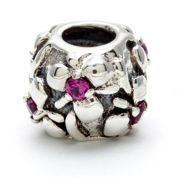 Sterling Silver Pink Crystal Flowers Bead
