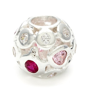 Sterling Silver Clear, Red and Pink Crystal Bead