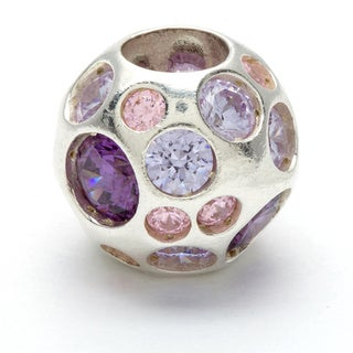 Sterling Silver Clear, Pink and Violet Crystal Bead