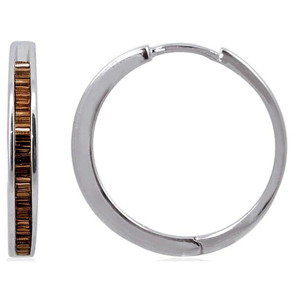 Sterling Silver 1/4ct TDW Baguette-cut Champagne Diamond Hoop Earring