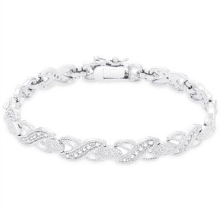 Finesque Silver Overlay 1/2 ct TDW Diamond Bracelet (I-J, I2,I3)