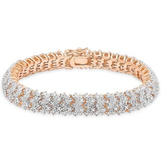 Finesque Silver Overlay 1ct TDW Diamond Bracelet