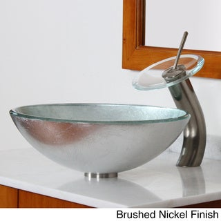 Elite Modern Tempered Glass Bathroom Vessel Sink with Silver Wrinkles Pattern and Waterfall Faucet Combo