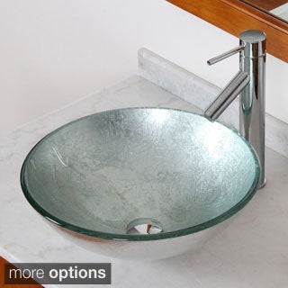 Elite Modern Silver Wrinkles Tempered Glass Bathroom Vessel Sink with Faucet Combo