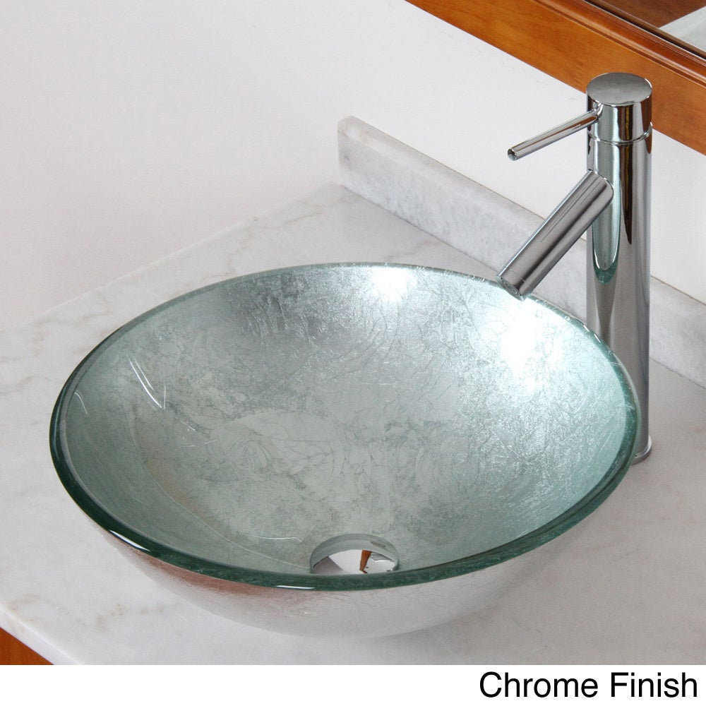 Vessel Vanity Sink Combo : Silver Wrinkles Tempered Glass Bathroom Vessel Sink with Faucet Combo ...