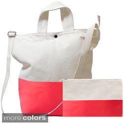 Latex Color Dipped Tote Bag and Clutch Set