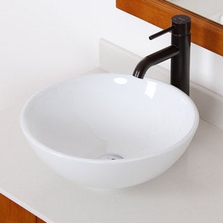 Elite High Temperature Grade A Round Ceramic Bathroom Sink and Oil Rubbed Bronze Finish Faucet Combo