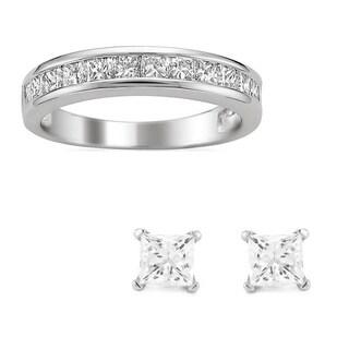 Platinum 1ct TDW Princess Channel-set Wedding Band with Bonus Diamond Earrings