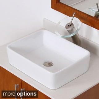 Elite High Temperature Ceramic Rectangular Bathroom Sink/ Waterfall Faucet Combo 9924F22T