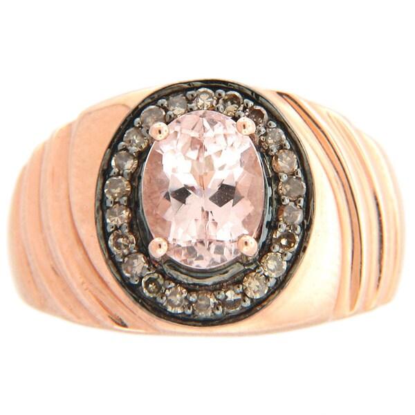 14k Rose Gold Morganite and 1/5ct TDW Champagne Diamond Ring