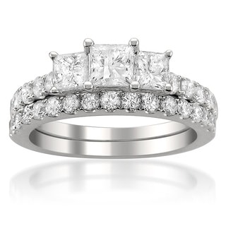 14k White Gold 2ct TDW Princess-cut Diamond Bridal Ring Set with Bonus Diamond Earrings (G-H, I1-I2)