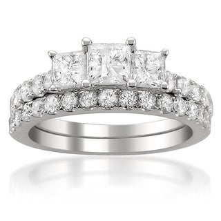 14k White Gold 2ct TDW Diamond Bridal Set with Bonus Diamond Earrings (G-H, I1-I2)