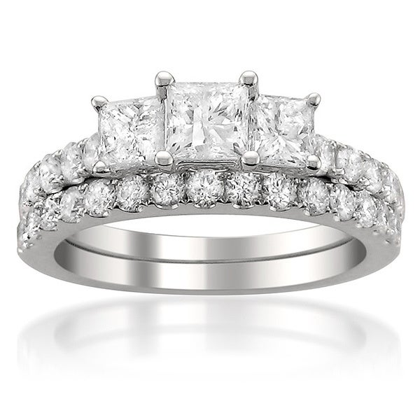 Montebello 14k White Gold 2ct TDW Diamond Bridal Set with Bonus Diamond Earrings (G-H, I1-I2)