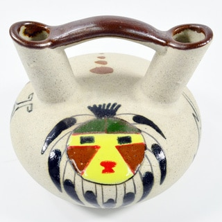 Double Neck Hand-Painted Mask Mexican Wedding Vase (Mexico)