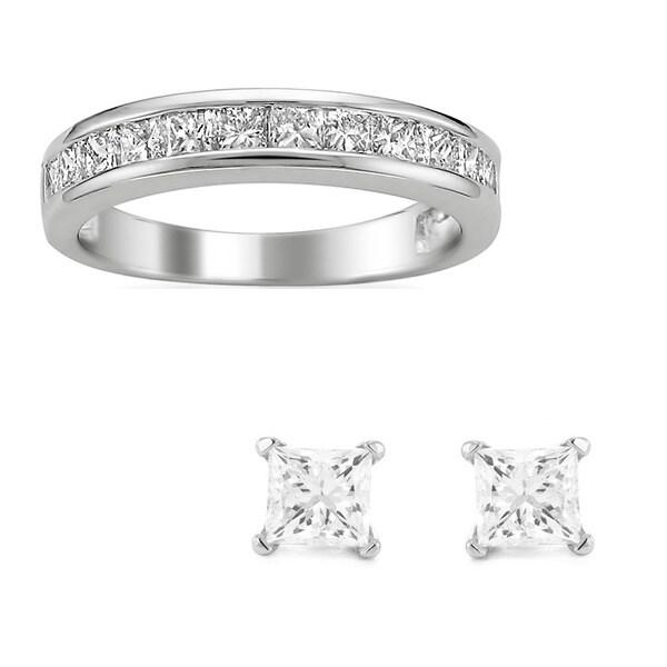 Montebello 14k Gold 1ct TDW Diamond Wedding Band with Bonus 1/5ct TDW Diamond Earrings (I-J, I2-I3)
