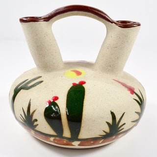 Double Neck Hand-Painted Cactus Mexican Wedding Vase (Mexico)