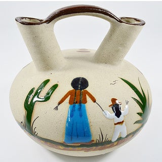 Double Neck Hand-Painted Mexican Wedding Vase (Mexico)