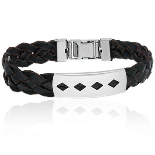 Gravity Braided Imitation Leather Steel Accent Bracelet