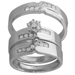 14k White Gold 1/2ct TDW Diamond His and Hers Wedding Ring Set (G-H, SI1-SI2)
