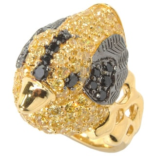 18k Yellow Gold over Silver Cubic Zirconia Duck Critter Ring