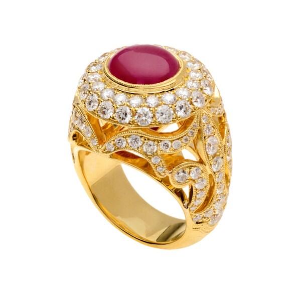 18k Yellow Gold Oval-cut Red Ruby and 4 5/8ct TDW Diamond Royal Ring (F-G, VS1-VS2)